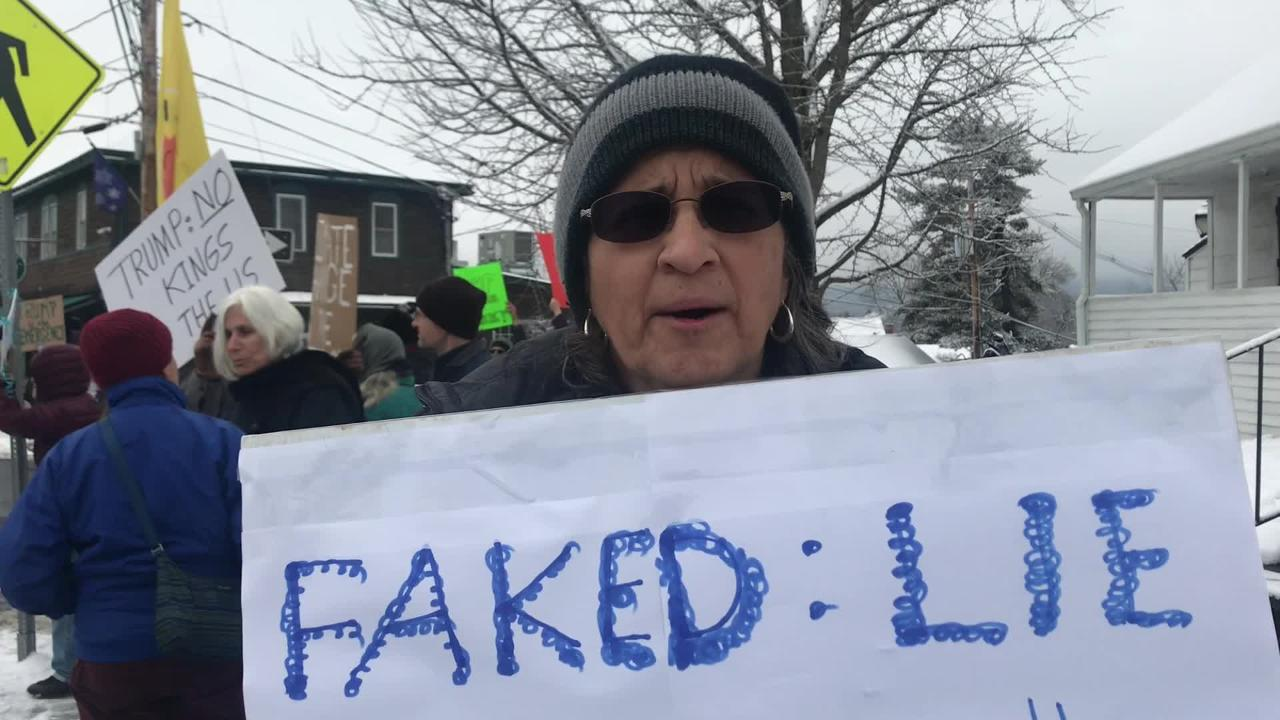 Maggie Veve was among protesters who rallied in New Paltz on Feb. 18, 2019 against President Trump'sborder wall emergency declaration.