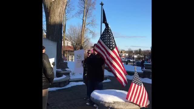 Protesters, and supporters, of Pres. Trump's national emergency declaration made last week protested Monday in downtown Howell.