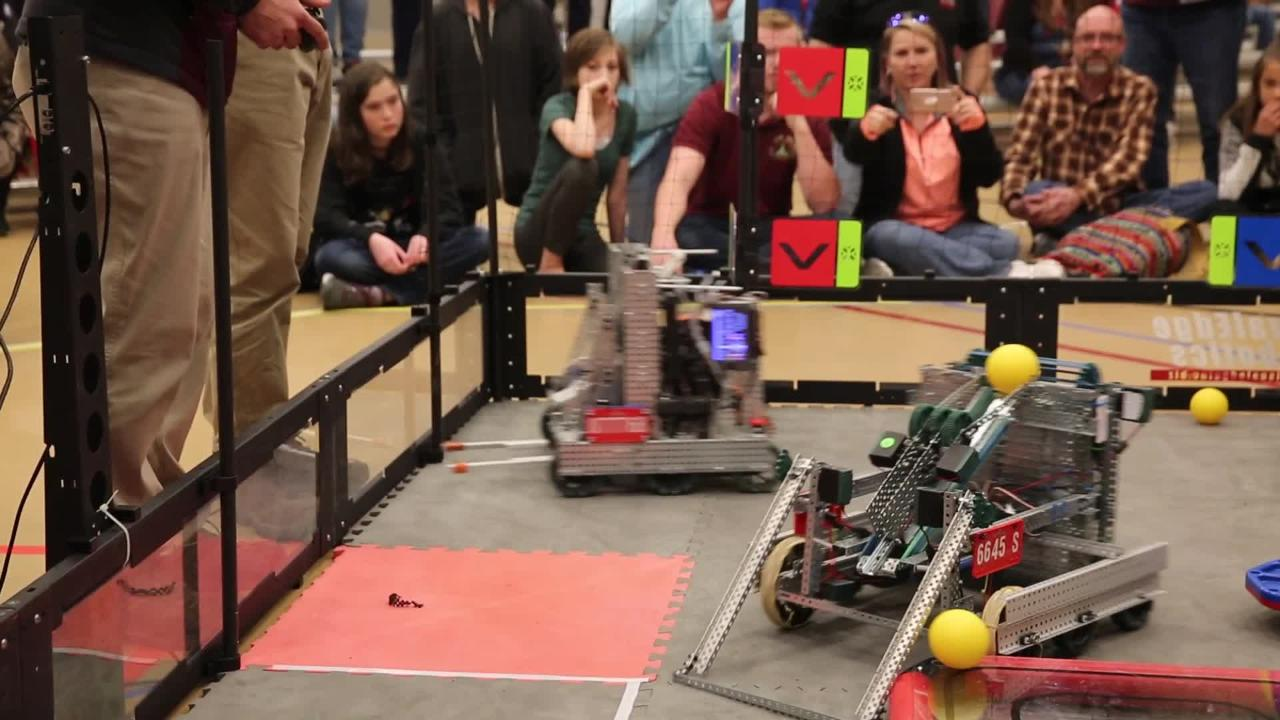 A robot built by a team of students from  Arrowhead Park Early College High School competes in the state competition at NMSU on Feb. 16, 2019.