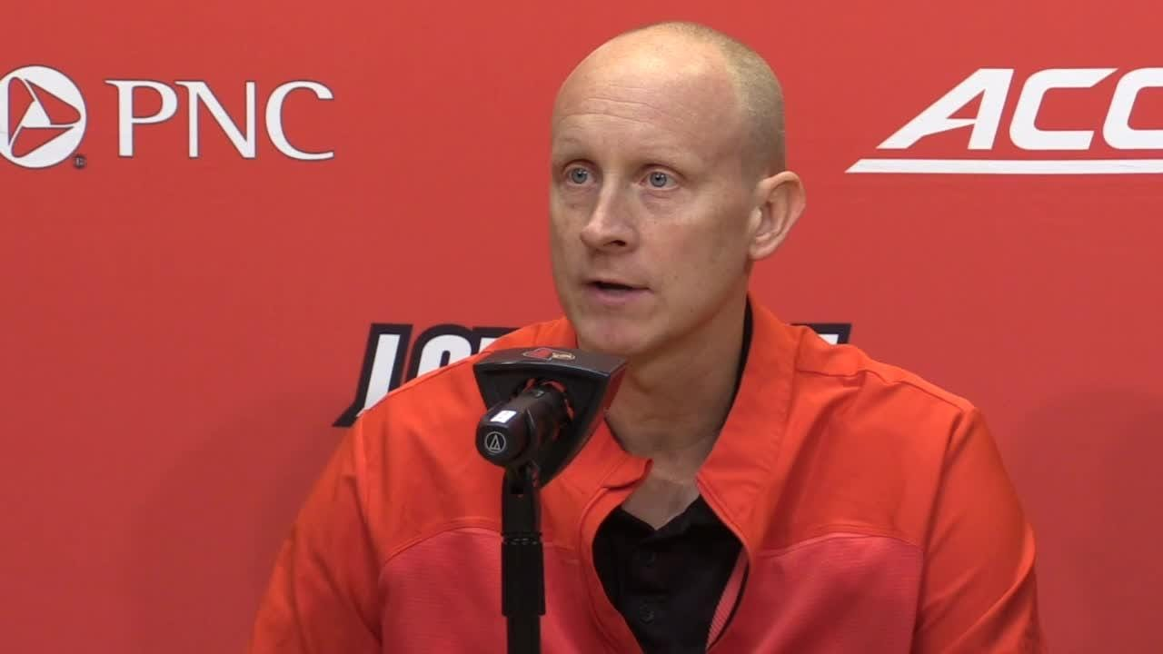 Louisville men's basketball coach Chris Mack talks about facing Syracuse, Jordan Nwora and his team's strength of schedule. Feb. 19, 2019