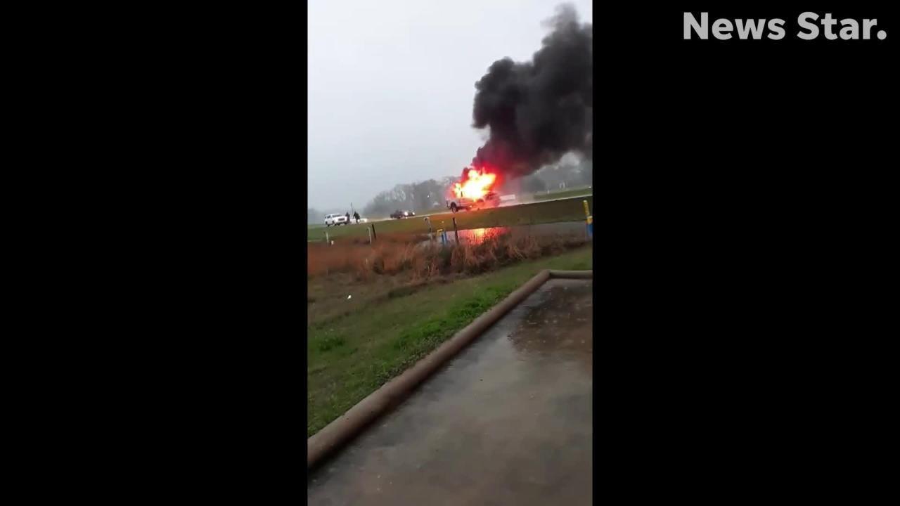 Video: Truck burns after lightning strike in Sterlington