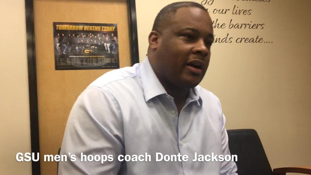 Grambling State men's hoops coach Donte Jackson shares the message to his team following its home loss to Prairie View A&M Monday.