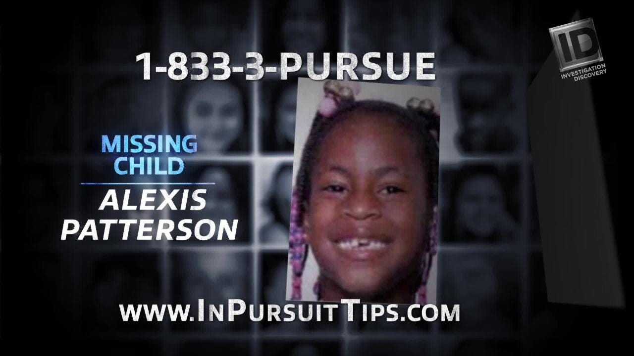 """The case of Alexis Patterson, the Milwaukee girl who's been missing since 2002, is featured in a segment on cable's """"In Pursuit With John Walsh."""""""