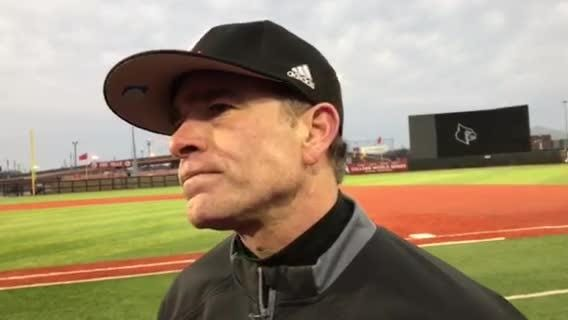 Louisville baseball coach Dan McDonnell talks after his team's home-opening win against Eastern Kentucky, 5-1.