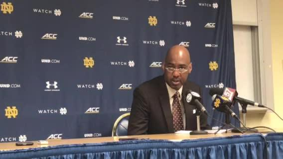Wake Forest coach Danny Manning after 75-68 win at Notre Dame for just his fifth ACC road win in 43 tries