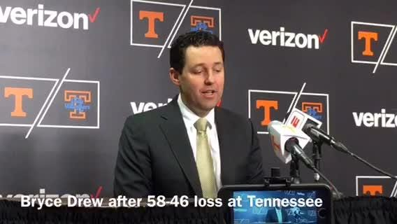 Vanderbilt basketball coach Bryce Drew's comments after a 58-46 to No. 5 Tennessee.