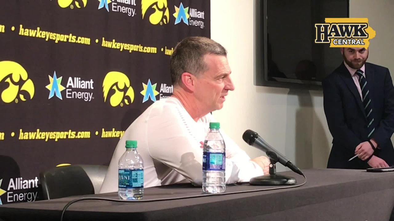 Maryland coach Mark Turgeon speaks after hanging on for a 66-65 win against Iowa.