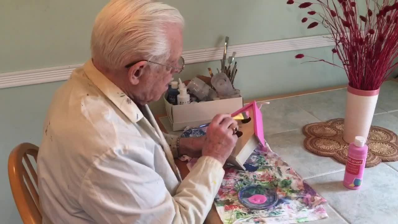 Bob Taylor worked for years as a draftsman for architects, now the retiree beautifies birdhouses for those battling cancer