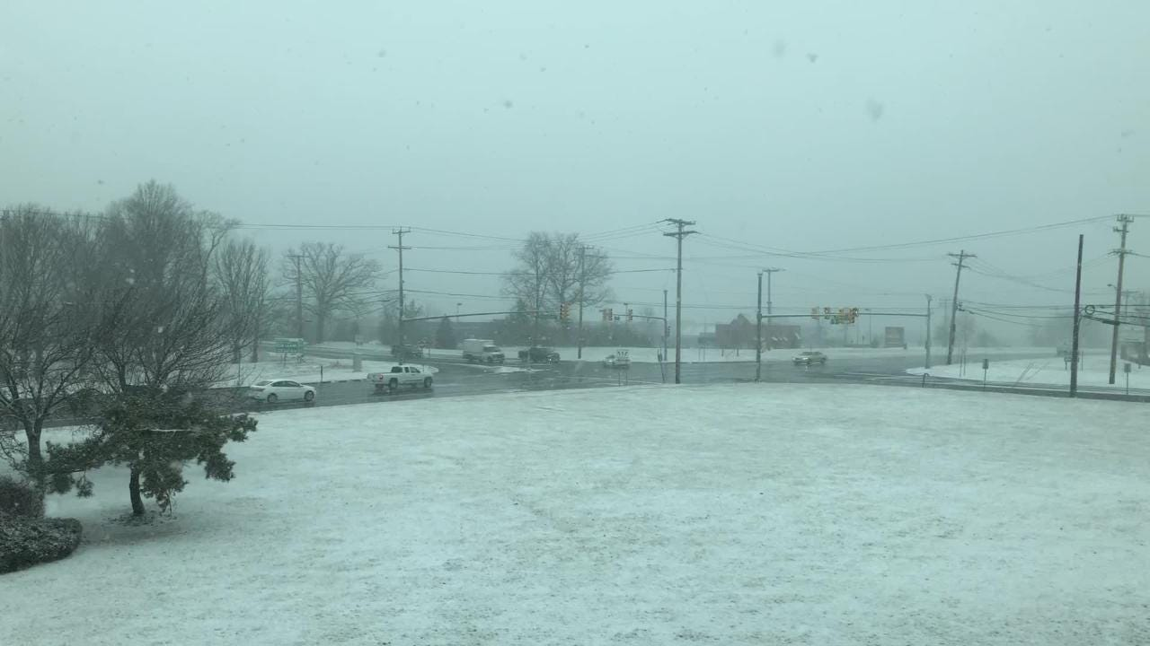 Snow started coming down in Neptune at about 10:30 a.m.