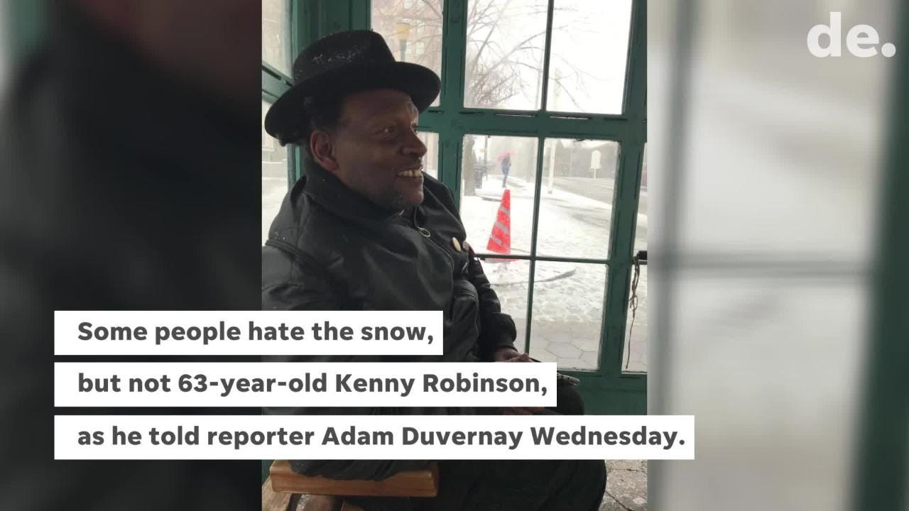 Some people hate the snow, but not 63-year-old Kenny Robinson