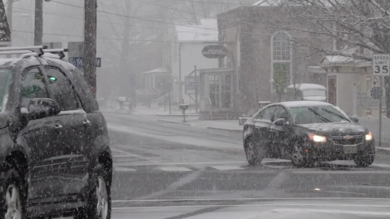 A steady snow falls in Barnegat Township in Ocean County