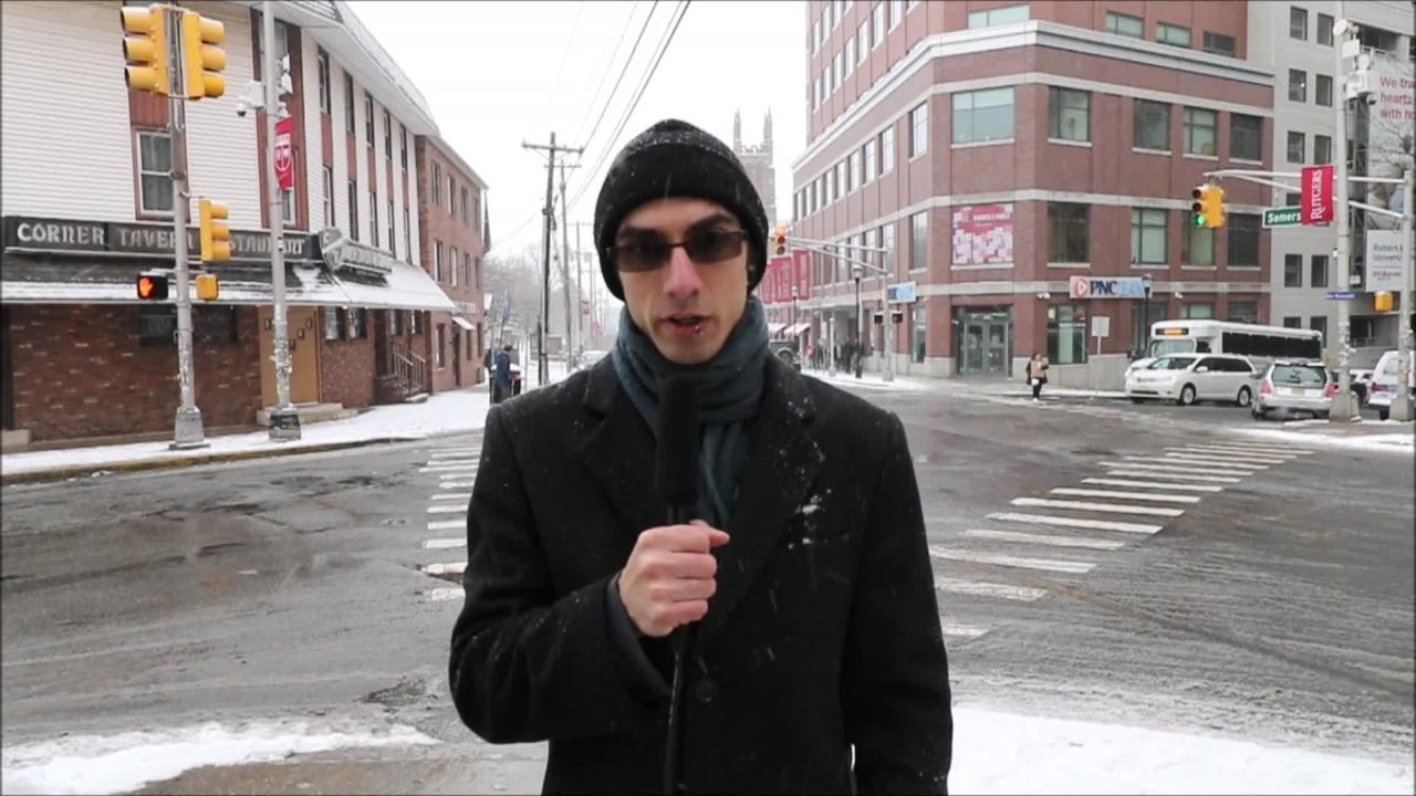 My Central Jersey reporter Alexander Lewis updates the public on the snow conditions in downtown New Brunswick.