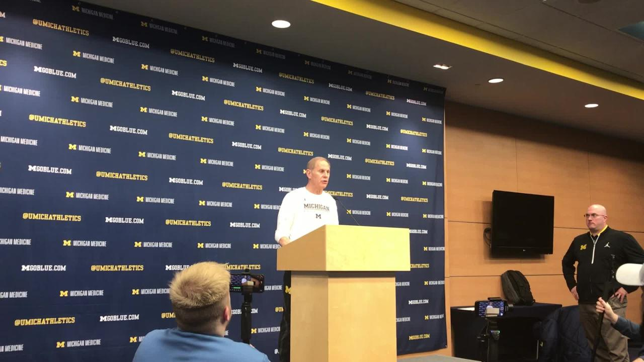 Michigan basketball coach John Beilein speaks to the media on Wednesday, Feb. 20, 2019, in Ann Arbor.