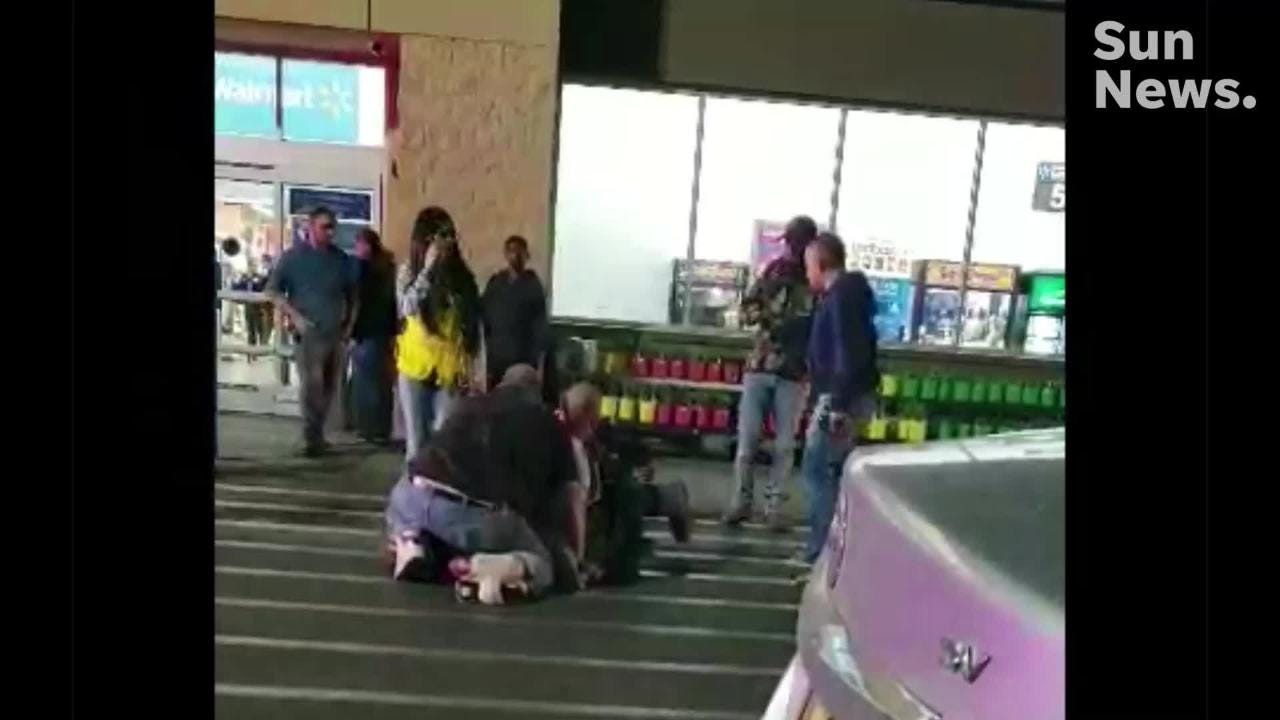 A person was stabbed during an altercation inside Walmart, prompting bystanders to chase down and detain the suspect.