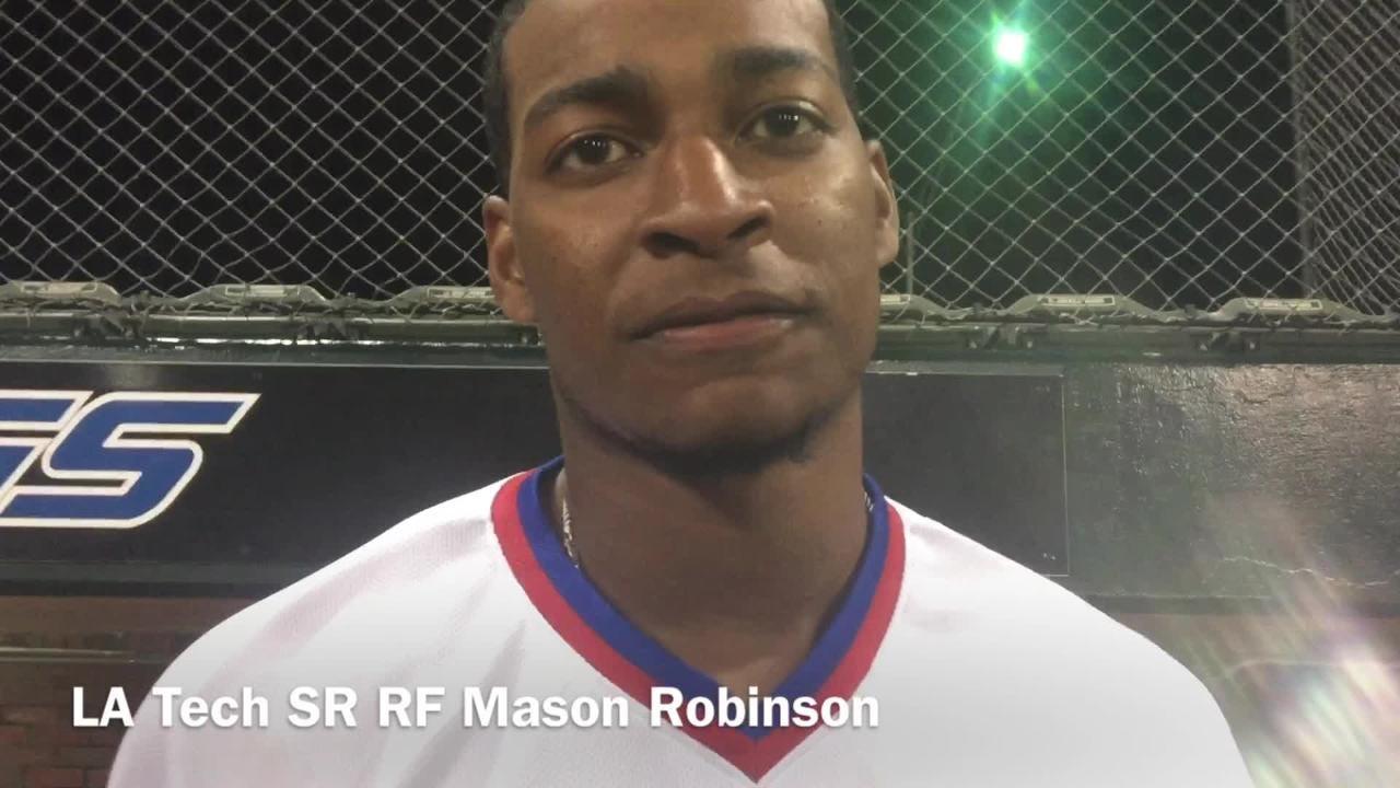 Louisiana Tech senior rightfielder Mason Robinson details his walkoff hit against Louisiana-Lafayette Wednesday night at J.C. Love Field.
