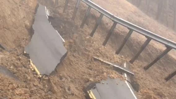 Video submitted by TDOT spokesperson Mark Nagi shows the mudslide in Hawkins County that closed SR 70 and sent one person to the hospital on Thursday.