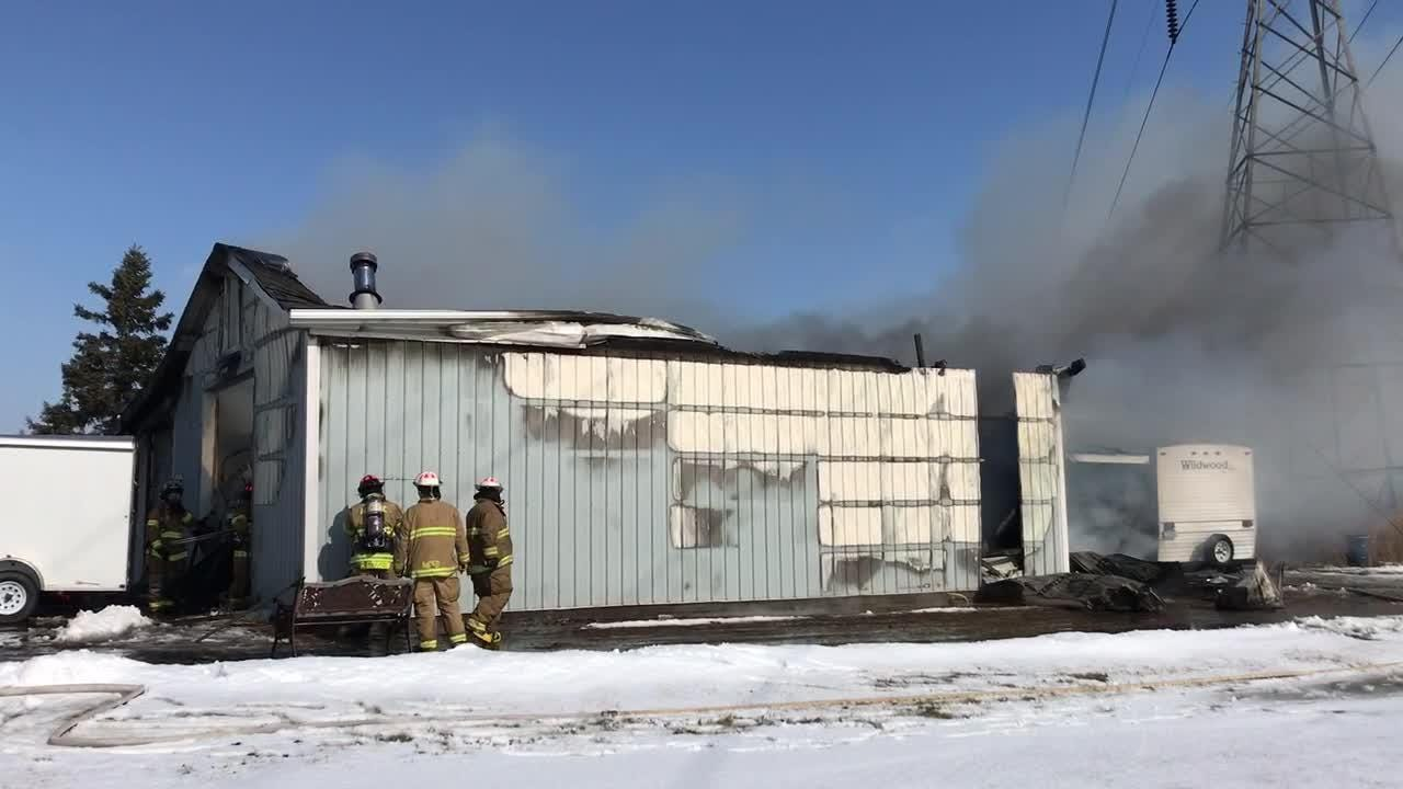 Multiple departments were called to a barn fire on Marsh Road Thursday morning.