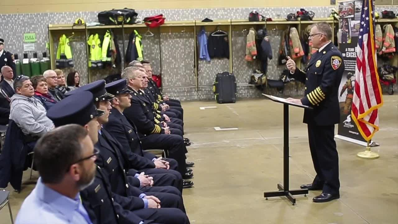 Five Sheboygan firefighters were honored in a ceremony for their role in saving a 3-year-old's life.