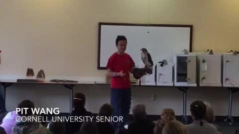 The Cornell Raptor Program conducted a presentation on hawks, falcons, American kestrels and owls.