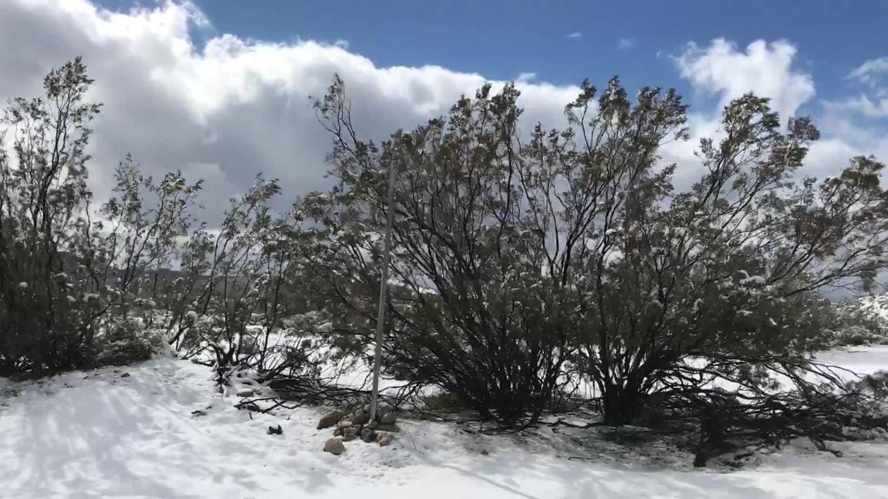 Snow in Morongo Valley and the Palm Springs mountains