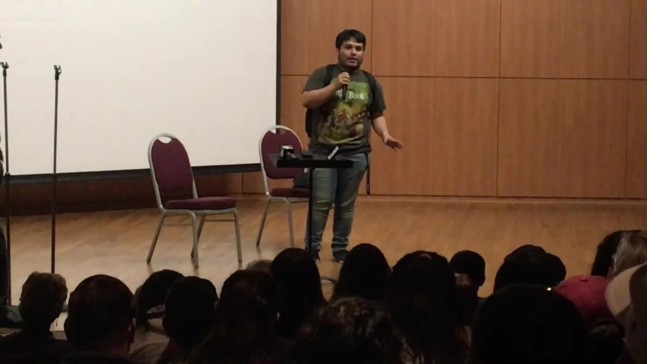 NMSU Business and Management major Alex Gardea showed off his comedic skills to George Lopez during his talk as part of the Las Cruces Film Festival.