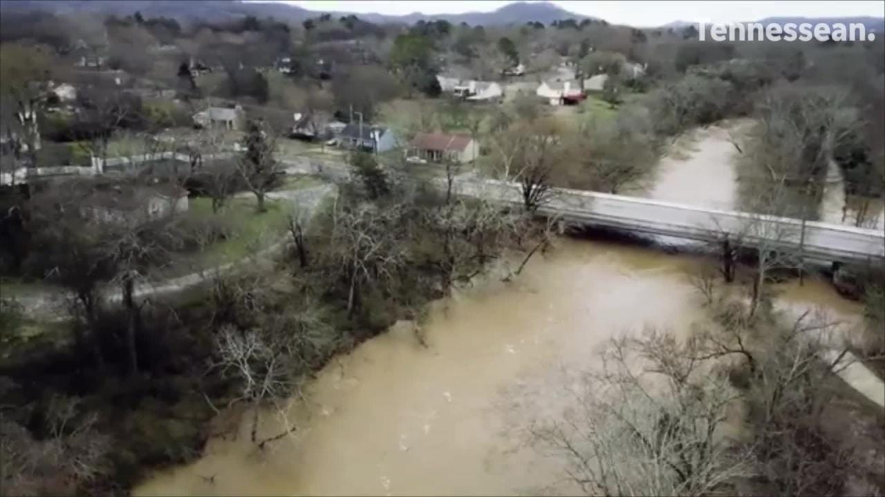 Drone footage shows areas near the Harpeth River in Bellevue were already under water Thursday afternoon as more rain moved into the area.  Nashville resident William Edwards captured the images by drone.