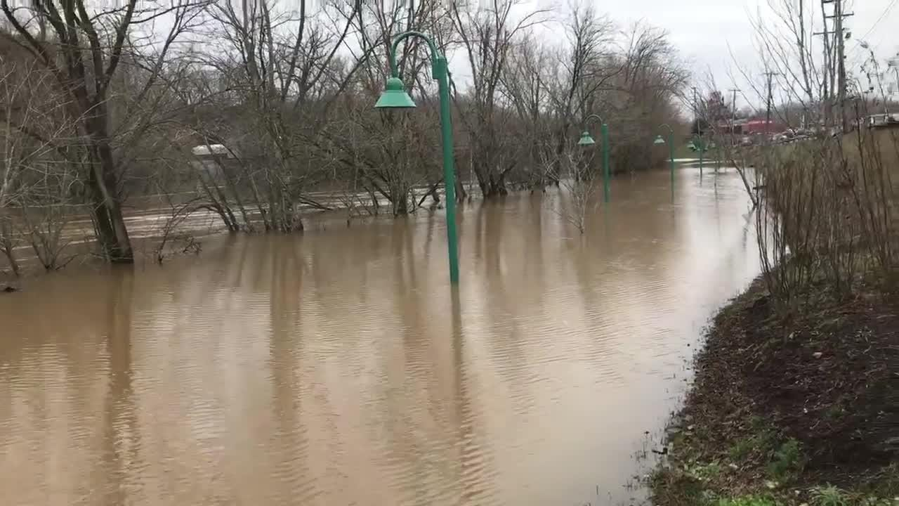 The Riverwalk where the Cumberland River and Red River meet covered sidewalks Friday, Feb. 22, 2019, with 2 to 4 more inches of rain expected soon