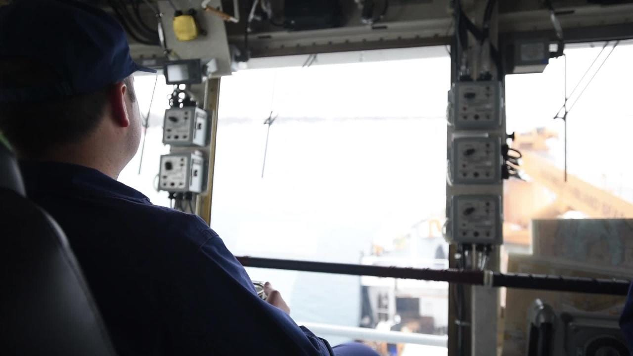 U.S. Coast Guard Lt. Cmdr. Nick Monacelli discusses Operation Coal Shovel and the Hollyhock's ice breaking capabilities.