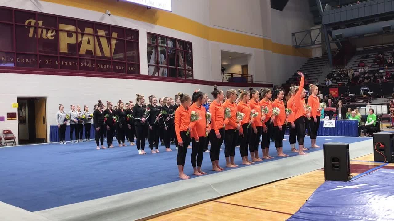 St. Cloud Tech is introduced during the Parade of Champions before the state Class 2A gymnastics team championship Friday in Minneapolis.