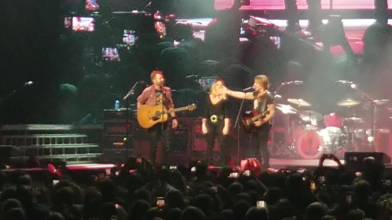 Always generous with his spotlight, Dierks Bentley surprised fans with multiple unannounced guests Friday night.
