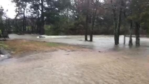 Water is rushing in the Royal Glen subdivision off Franklin Road.