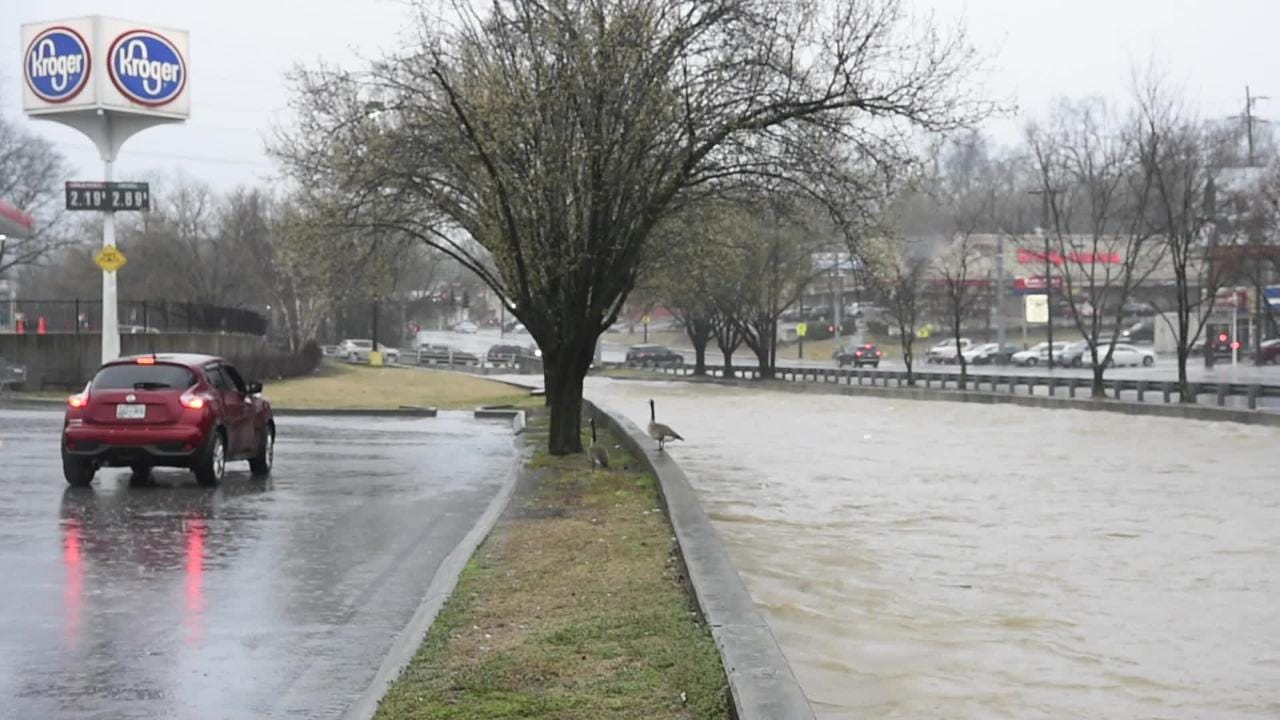 Raw video: First Creek overflooding on Broadway