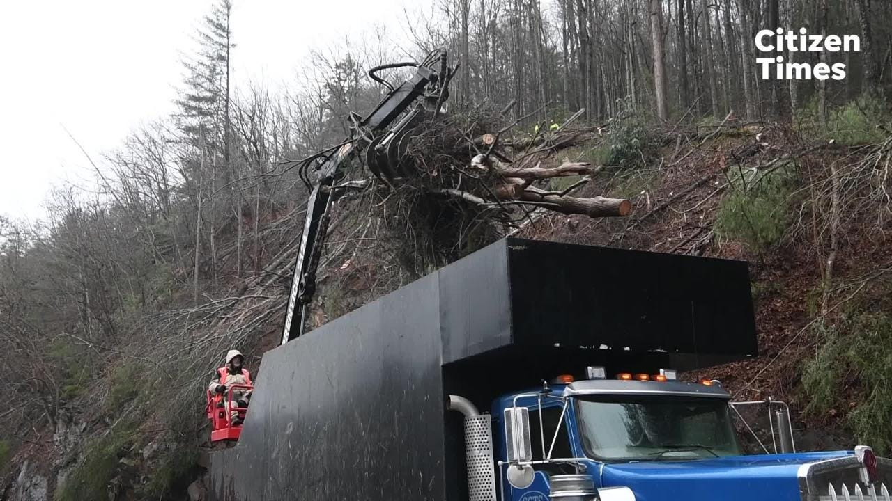 Debris was still sliding onto I-40 on Saturday afternoon, Feb. 23, 2019 after a Friday night rockslide closed the interstate.