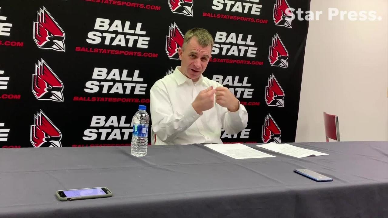 Ball State head coach James Whitford answers questions after the Cardinals blew an 11-point halftime lead.