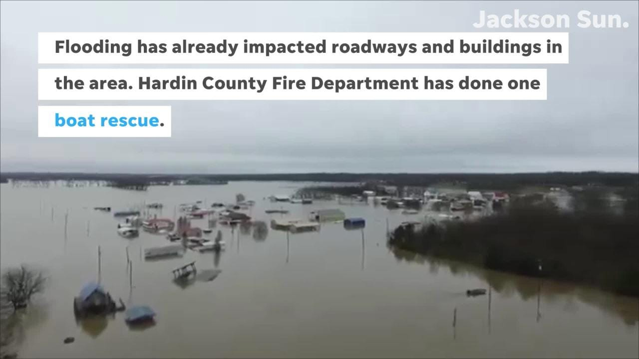 Heavy rainfall has caused major flooding along the Tennessee River in Hardin County.