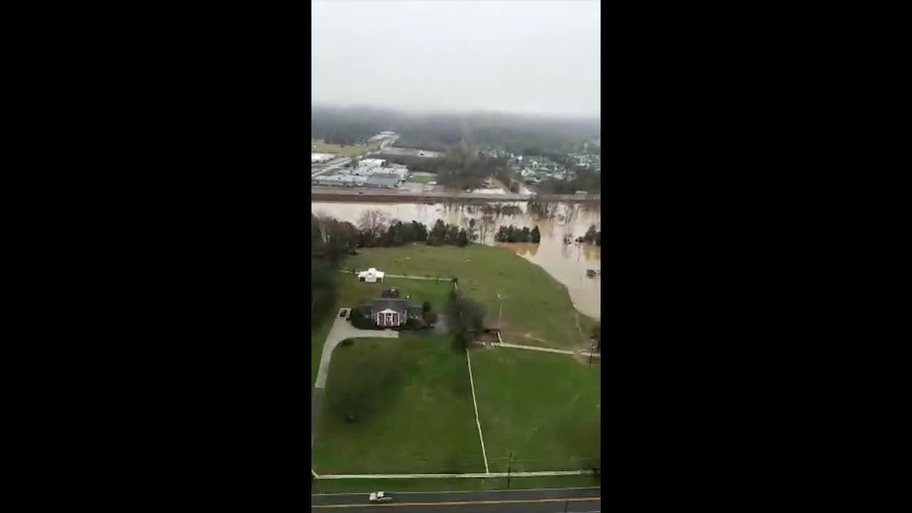 Helicopter video captured by Knox County Mayor Glenn Jacobs and Sheriff Tom Spangler shows the extent of flooding in parts of Knox County on Saturday.