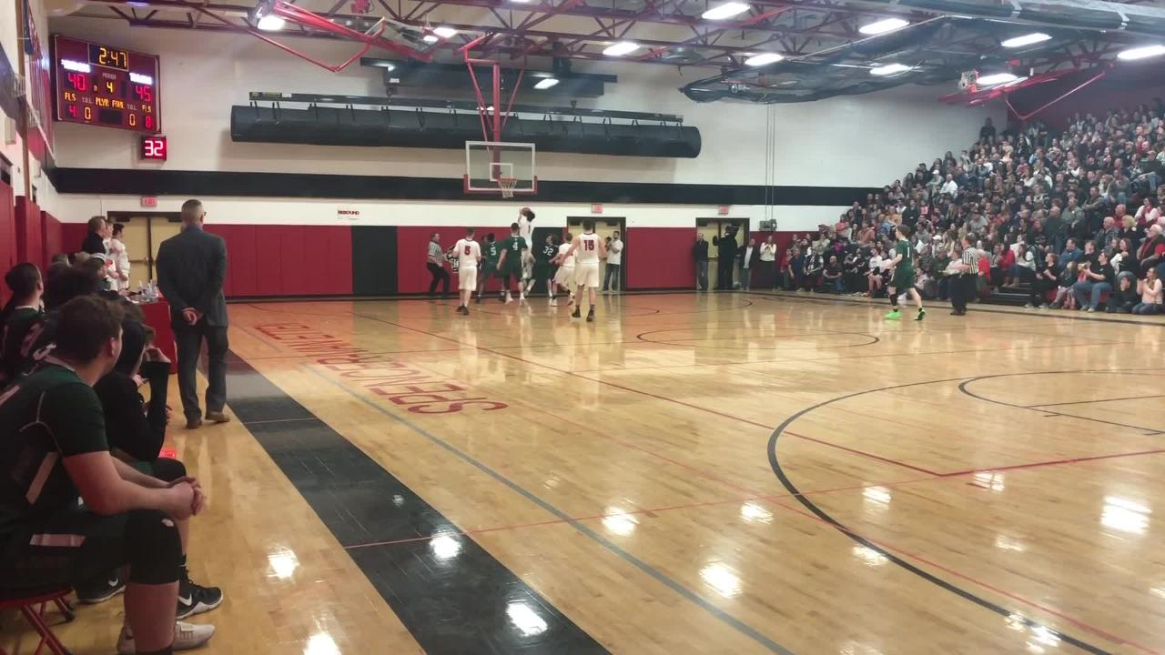 Josh Wood's 3-pointer and Daejahd Leckey's late steal helped Newfield to a 55-49 win over Spencer-Van Etten in a Class C boys quarterfinal Feb. 23.