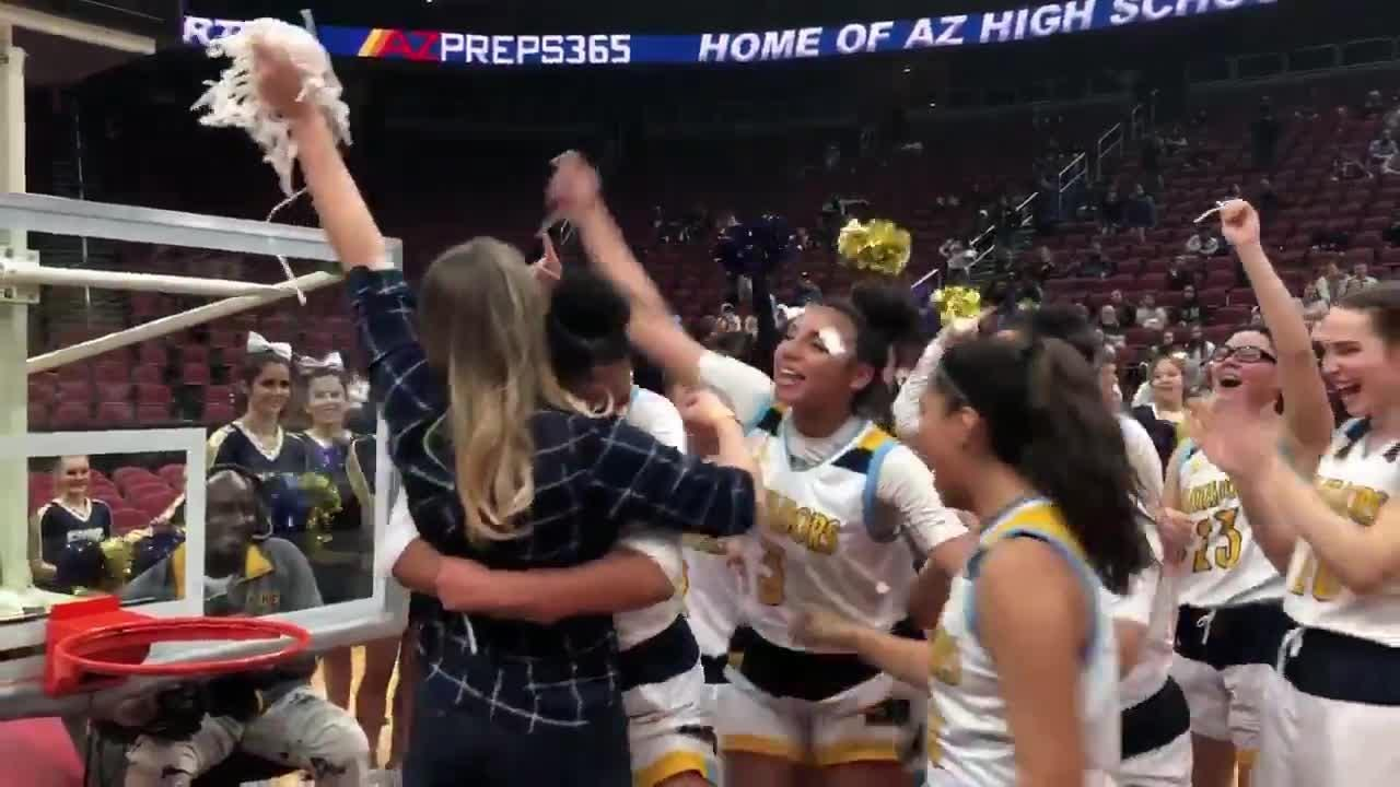 Shadow Mountain celebrates with head coach Erica Matthews after winning 4A state title