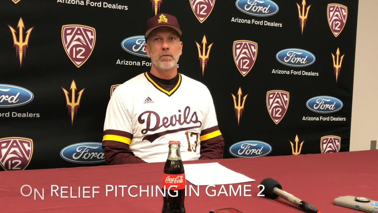 ASU baseball coach Tracy Smith, pitcher Alec Marsh after doubleheader sweep