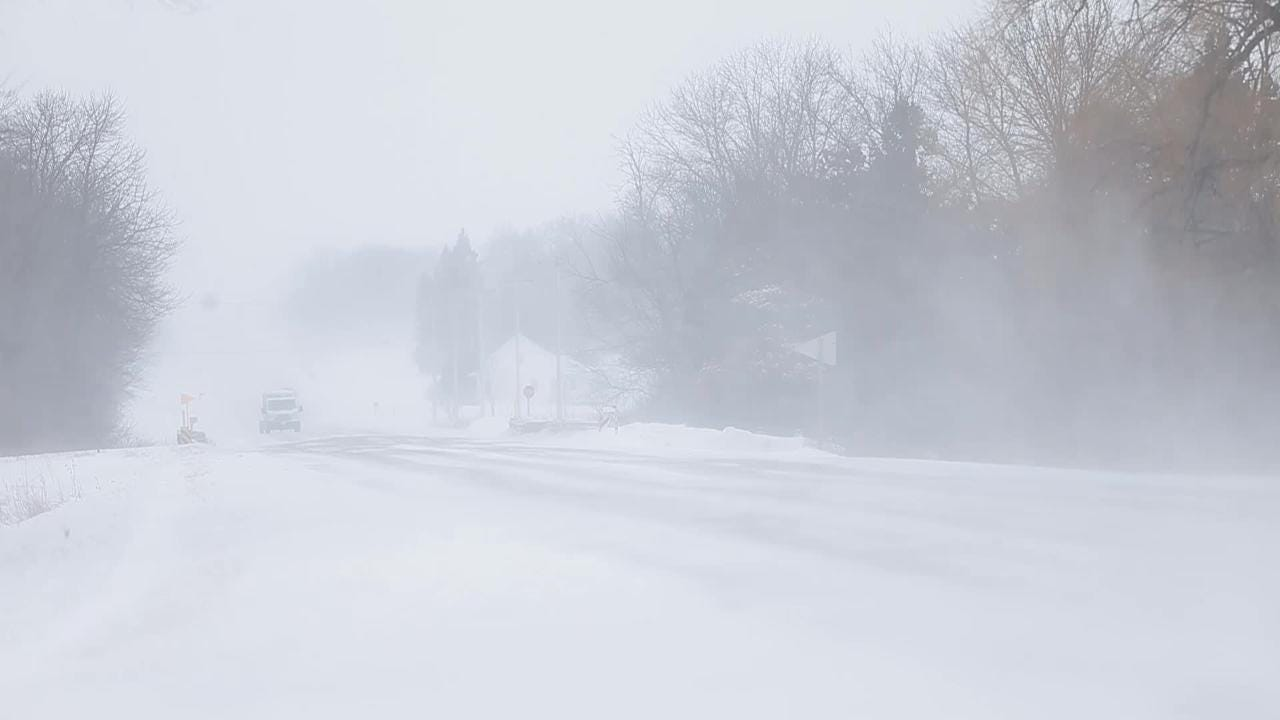 High winds cause blowing and drifting snow in Fond du Lac County.