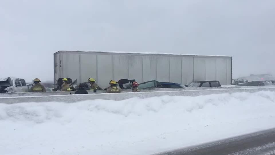 Video from the scene of a crash on I-41 in Neenah on Feb. 24, 2019.