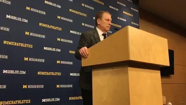 Michigan State basketball coach Tom Izzo speaks to the media after the 77-70 win over Michigan on Sunday, Feb. 24, 2019, at Crisler Center.