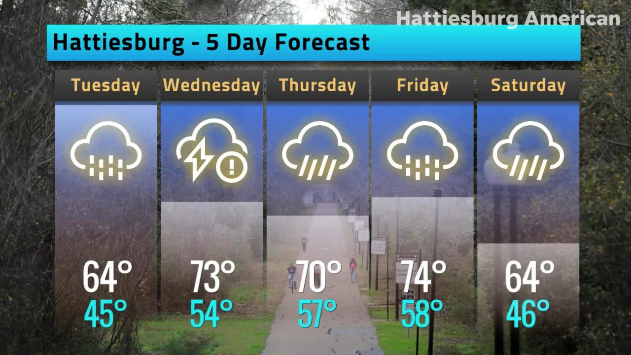 Hattiesburg Weather Forecast, Monday, Feb. 25, 2019