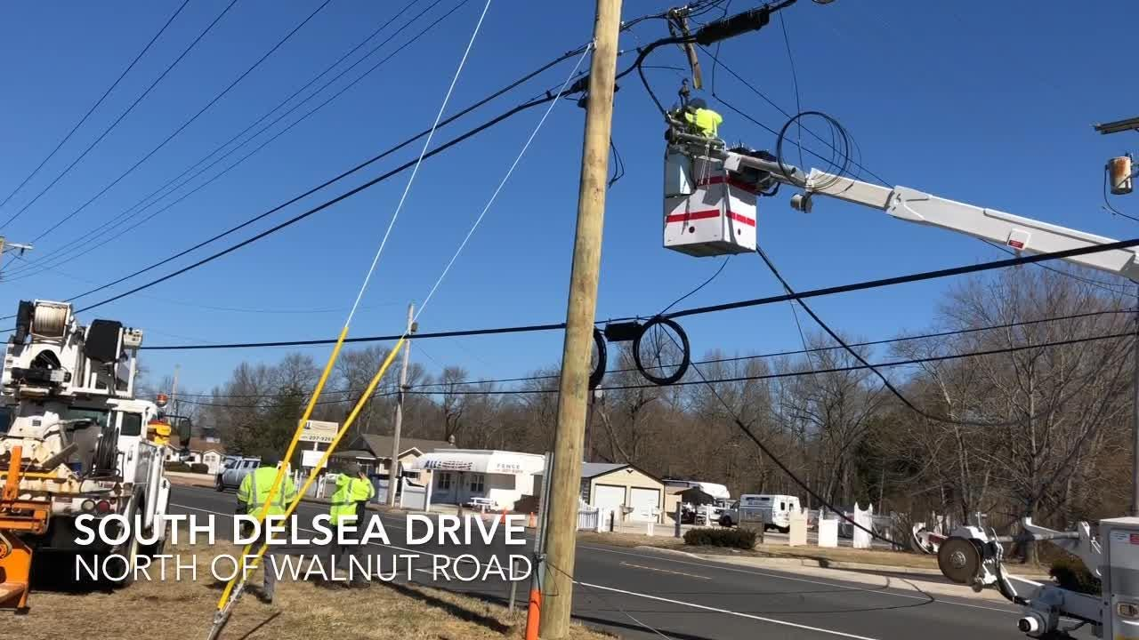 Winds, with gusts exceeded 50 miles per hour, keep utility crew and police busy on Feb. 25, 2019.