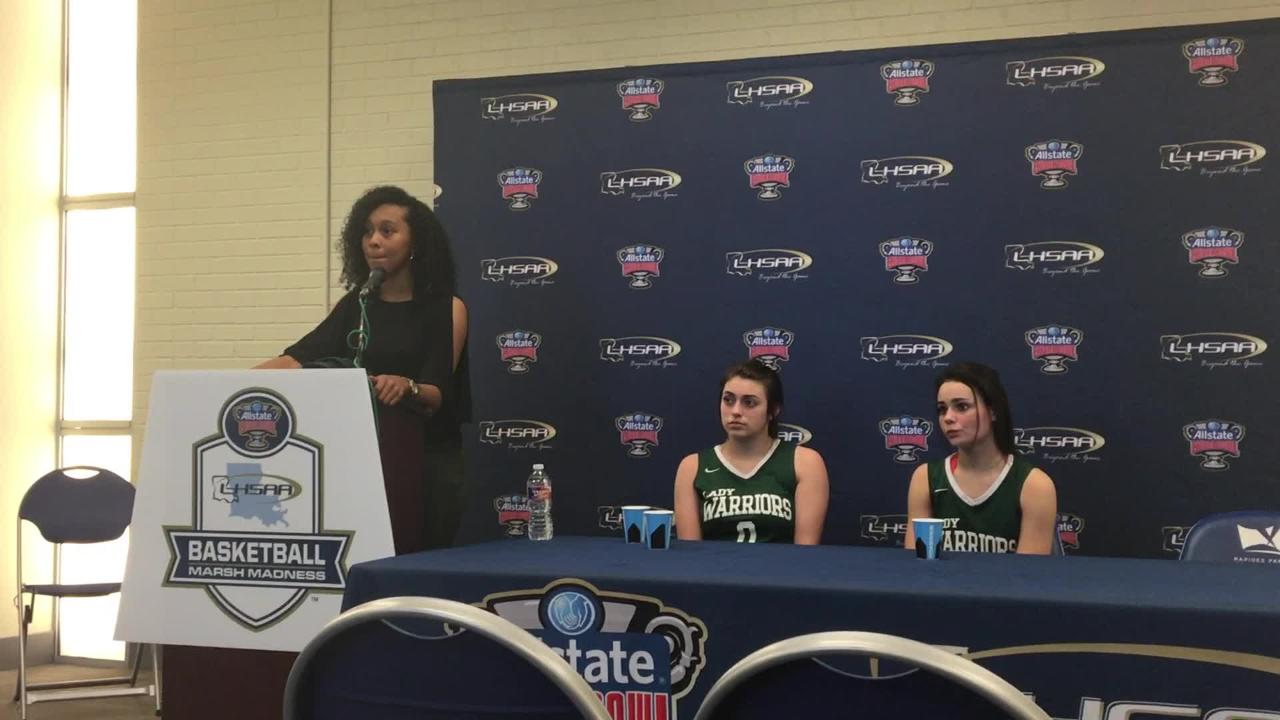 Grace Christian coach Anna Phillips talks about the Lady Warriors' loss to Claiborne Christian in the LHSAA Division V semifinals Feb. 25.