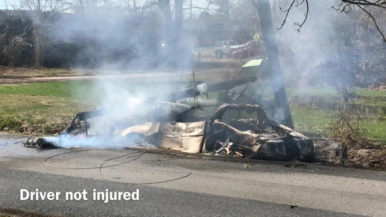 Police and rescue personnel responded to the scene of a fiery crash Tuesday on Old White Hill Road.