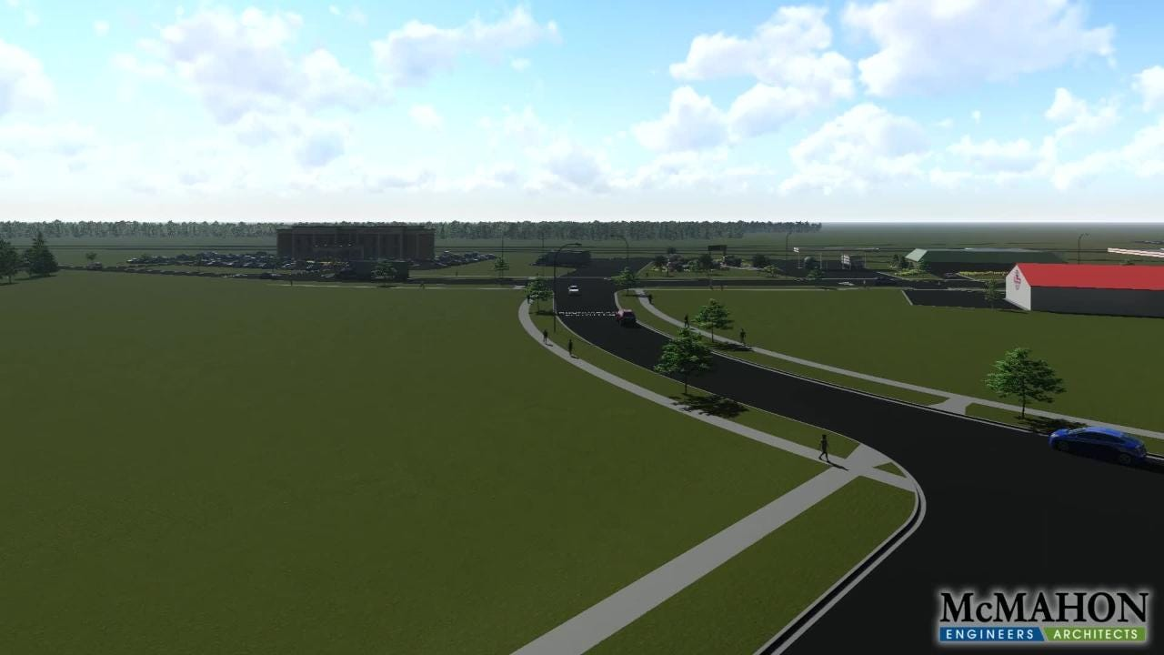 This animation shows a future vision of development in the western portion of the village of Denmark.