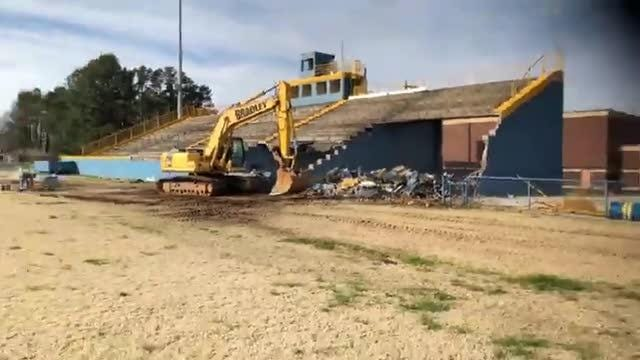 North Side High School stadium bleachers come down on Tuesday, Feb. 26, 2019.