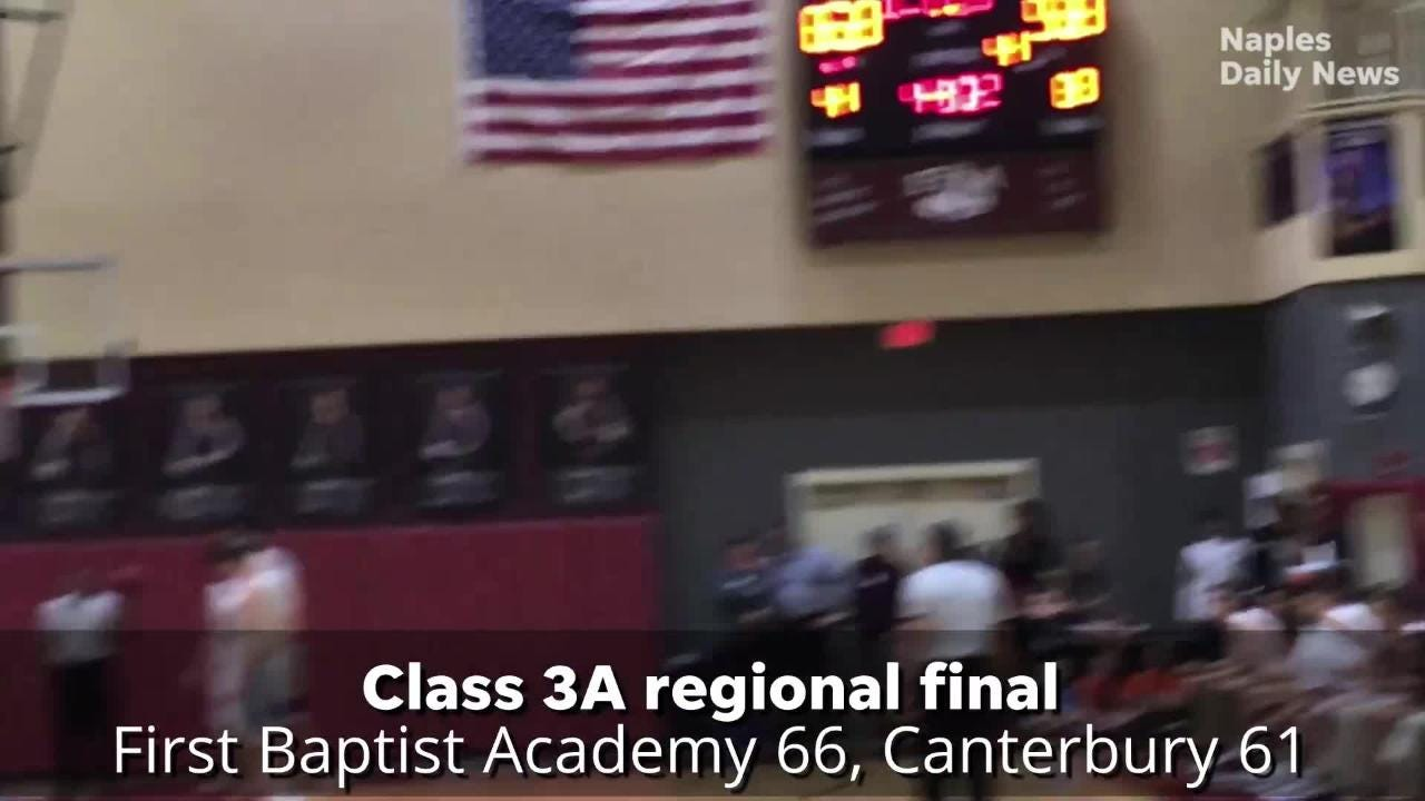It wasn't easy, but the First Baptist Academy boys basketball team qualified for its first-ever trip to the state semifinals by beating Canterbury.
