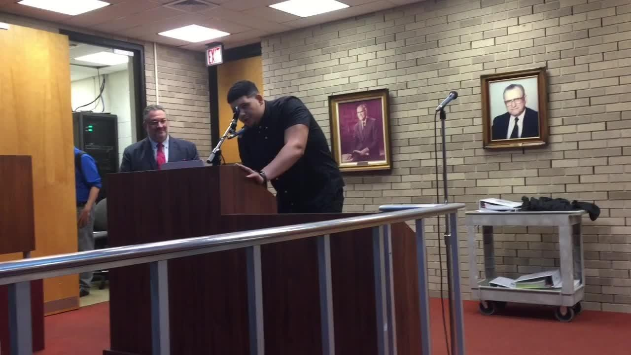 Vineland native Jamil Demby, now with the Los Angeles Rams, was a special guest at Tuesday night's City Council meeting.